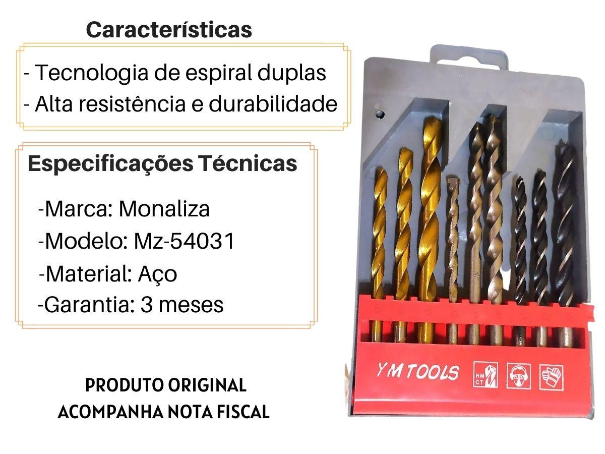 Jogo De Brocas Mistas Monaliza MZ-54031 9 Peças