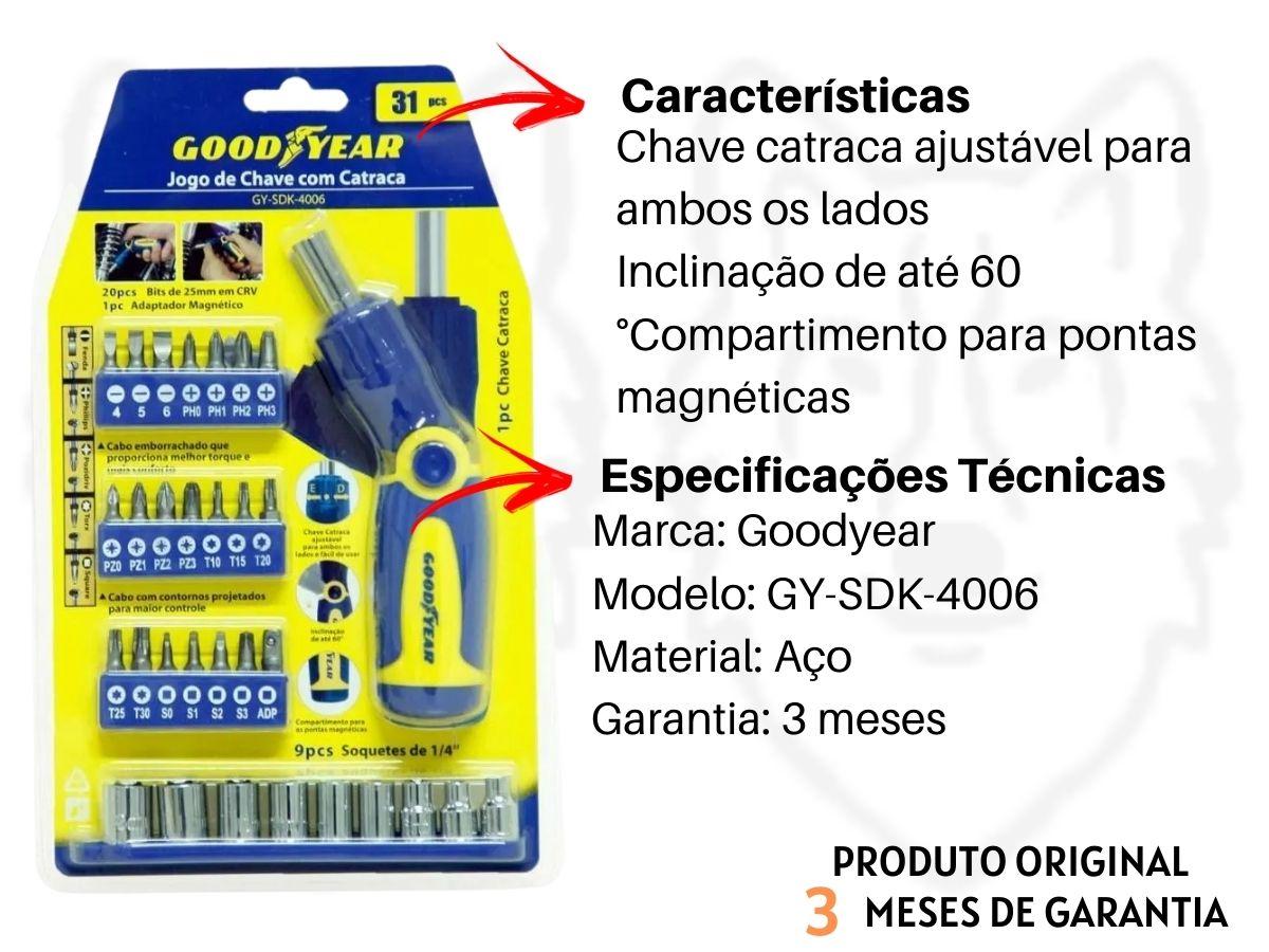 Jogo De Chave Com Catraca Goodyear Gy-Sdk-406 31 Peças