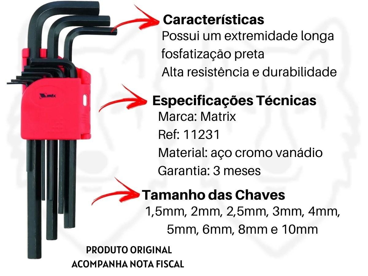 Jogo De Chaves Allen Longas MTX 112319 Aço Cromo Vanádio 9 Peças