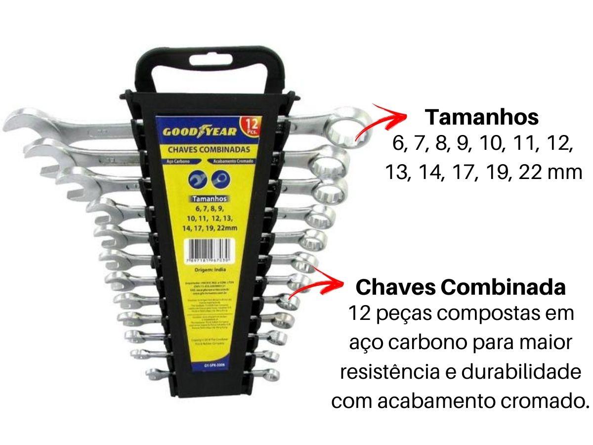 Jogo De Chaves Combinada Goodyear Gy-Spk-5008 Com Suporte