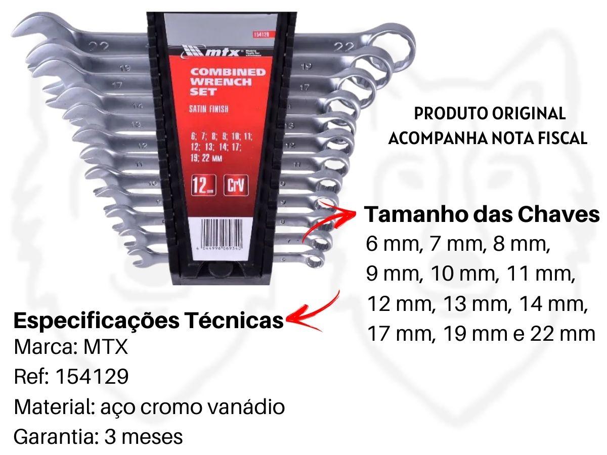 Jogo De Chaves Combinada Mtx 154129 Aço Cromo Vanádio 12 Peças