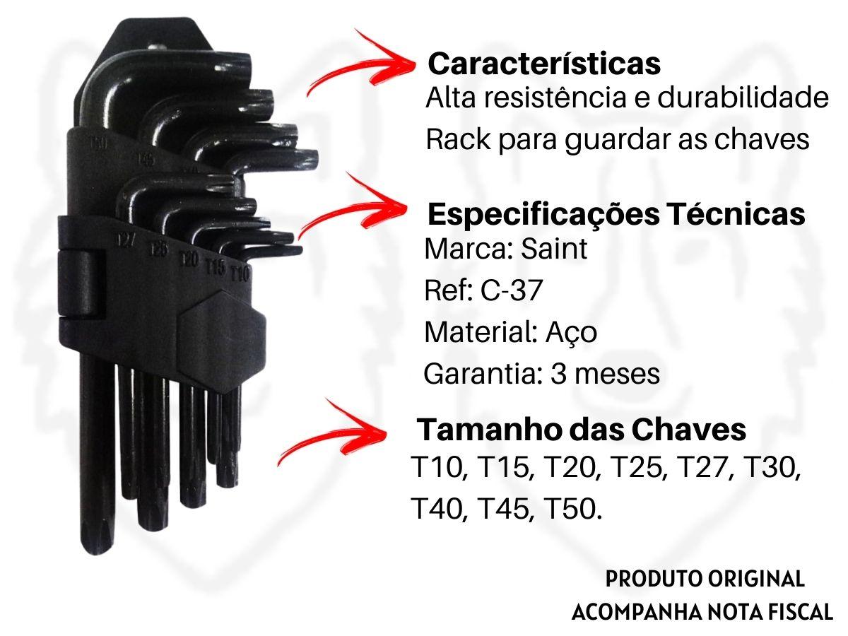 Jogo de Chaves Torx Saint C-37 Aço 9 Peças Com Furo