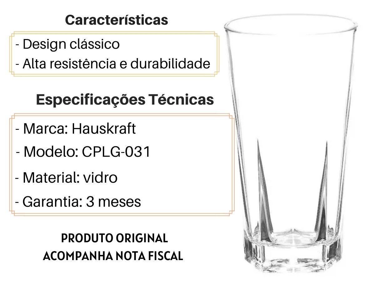Jogo De Copos Altos Hauskraft Janina CPLG-031 Vidro 6 Peças