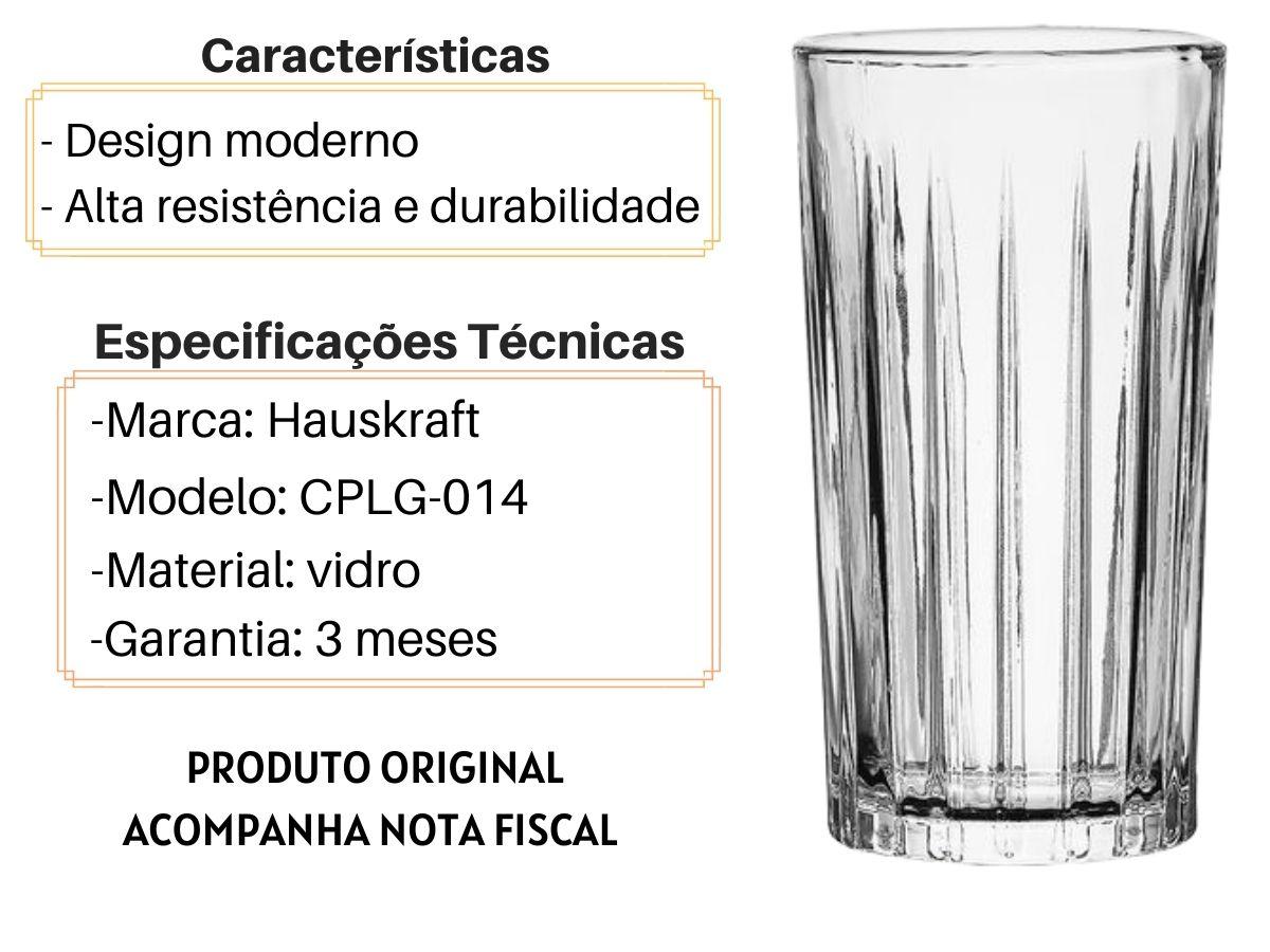 Jogo De Copos Hauskraft Egeu CPLG-014 Vidro 260 ML 6 Peças