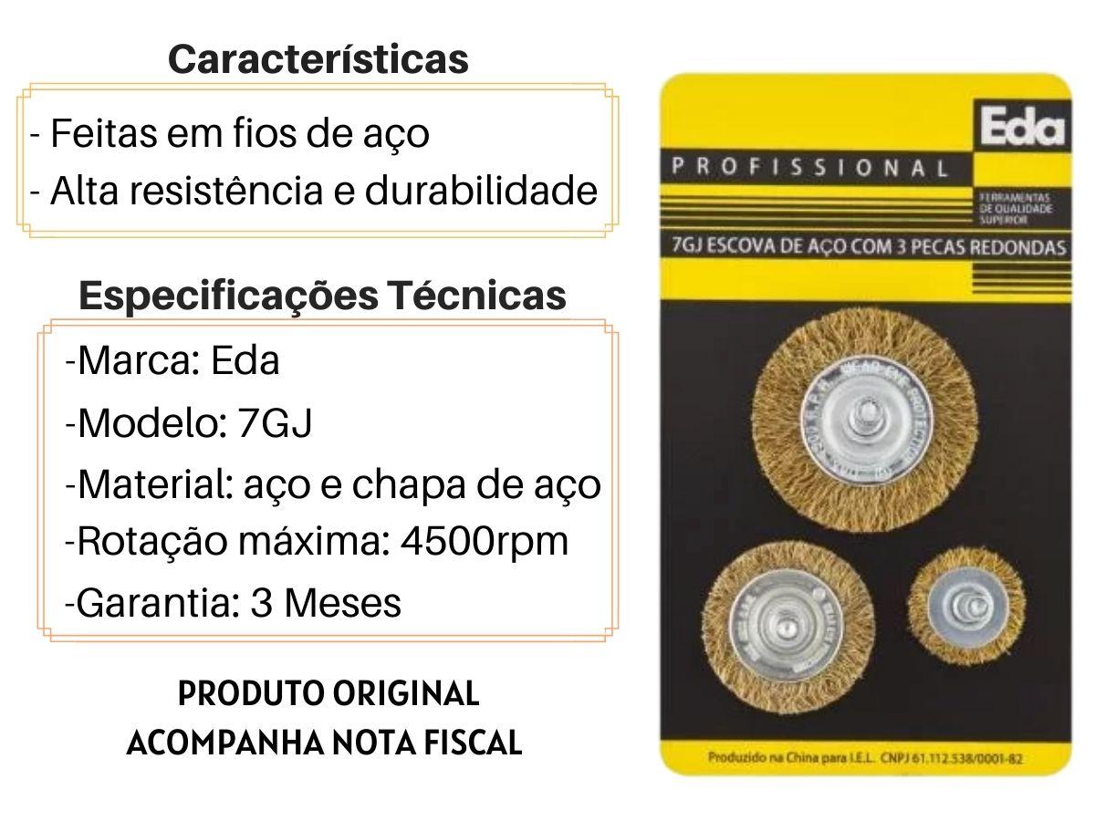 """Jogo De Escovas De Aço Eda 7GJ 3 Peças Profissional 1/4"""""""