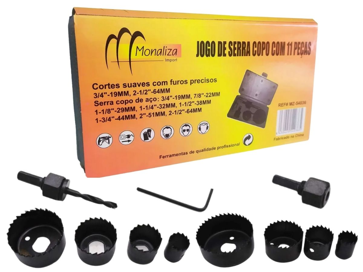 Jogo De Serra Copo Monaliza Mz-54036 11 Peças Madeira