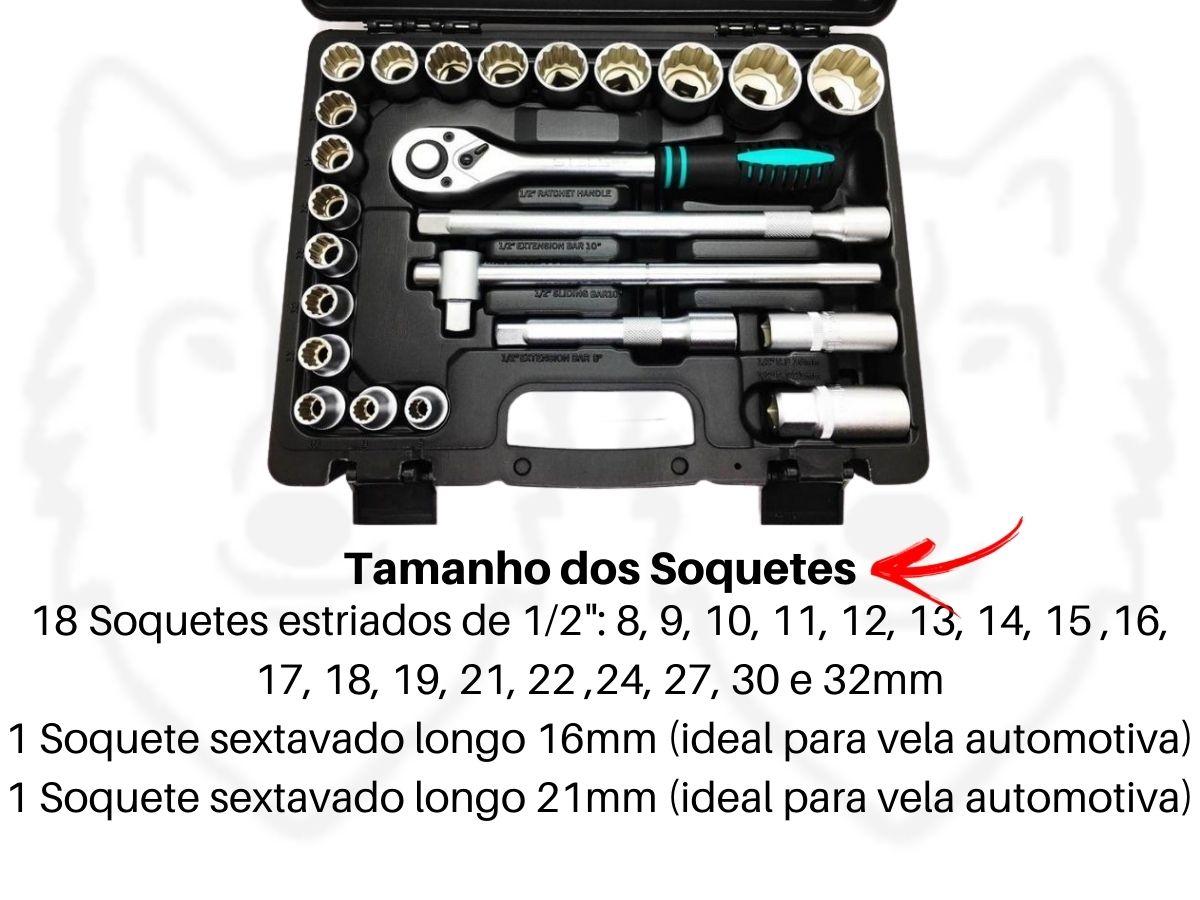 Jogo De Soquetes Estriados Stels 135769 1/2 Pol. Cromo Vanádio 24 Peças Com Maleta