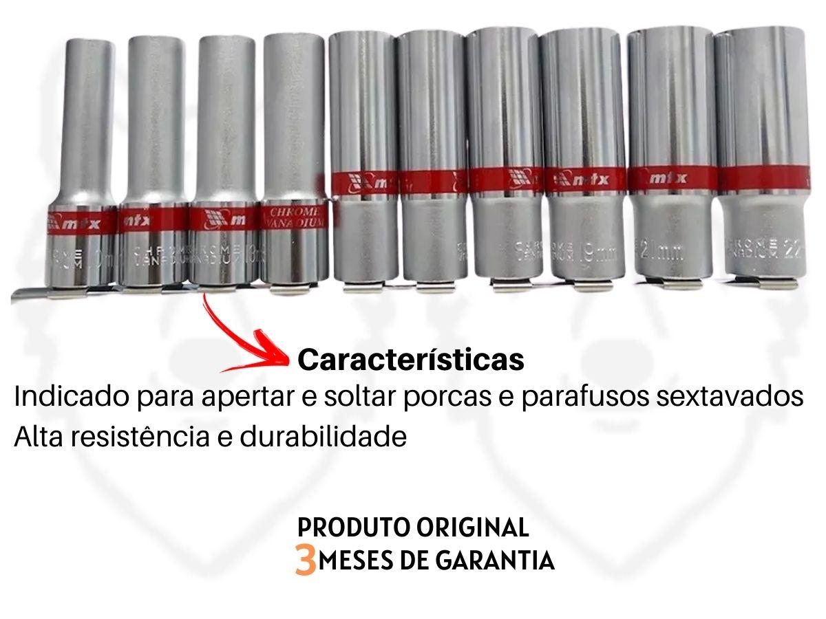 """Jogo De Soquetes Longos Sextavados MTX 135909 Aço Cromo 10 Peças 1/2"""""""