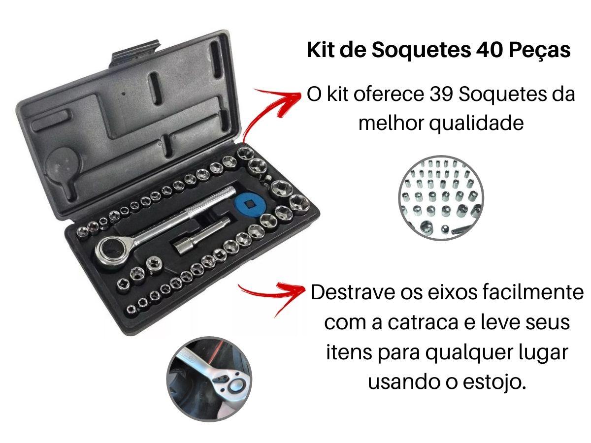 Jogo De Soquetes Sextavados Fertak 4820 Com Catraca e Estojo 40 Peças