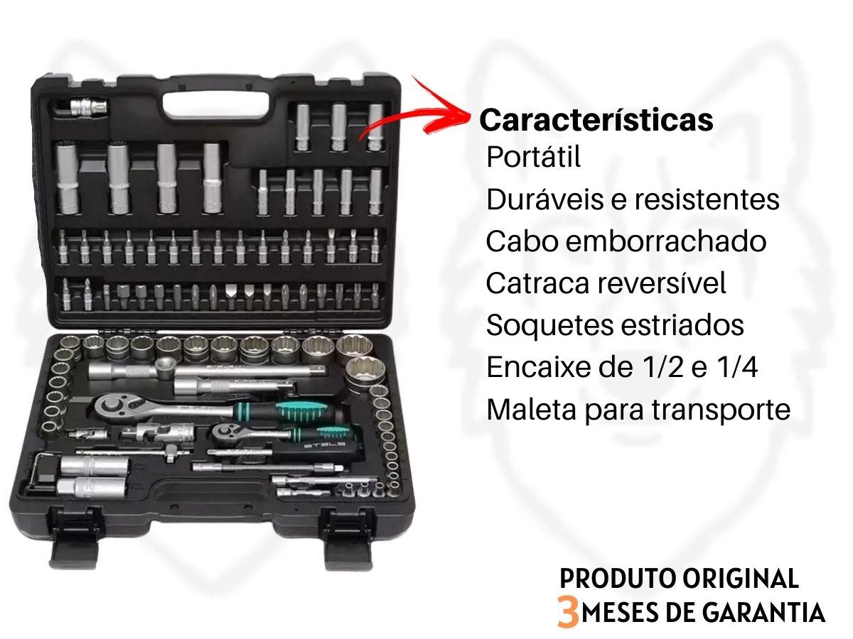 """Jogo De Soquetes Stels 1358099 1/2"""" e 1/4"""" 94 Peças Aço Cromo Vanádio"""