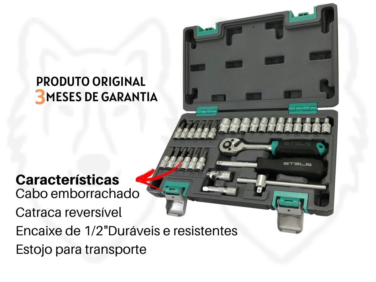 """Jogo De Soquetes Stels 1410055 Aço Cromo Vanádio 29 Peças 1/4"""""""