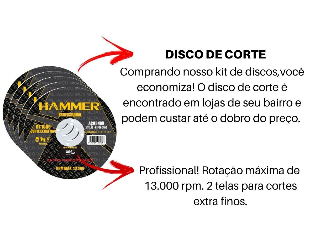 Kit 100 Discos Corte Inox Di-1000 2 Telas Hammer 4.1/2 Polegadas