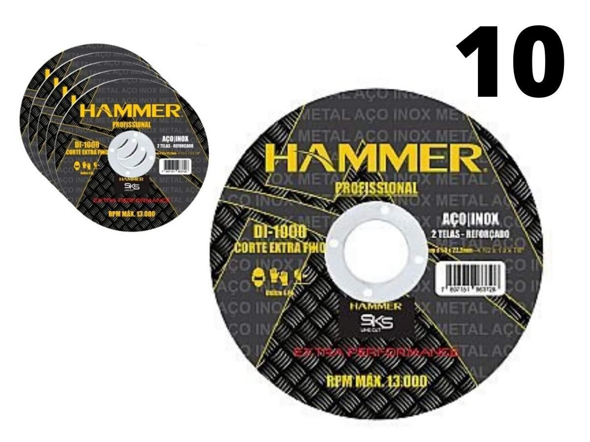 Kit 10 Discos Corte Di-1000 Inox 2 Telas Hammer 4.1/2 Polegadas