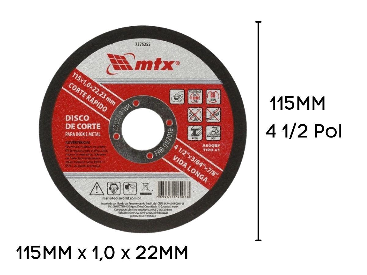 Kit 10 Discos De Corte 4.1/2 Pol.115mm Mtx 7432655 Metal