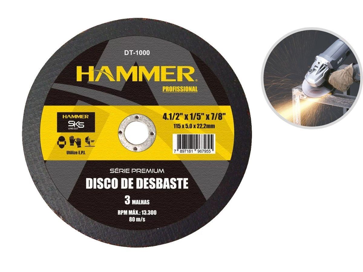 "Kit 10 Discos de Desbaste Hammer DT-1000 Profissional 4.1/2"""