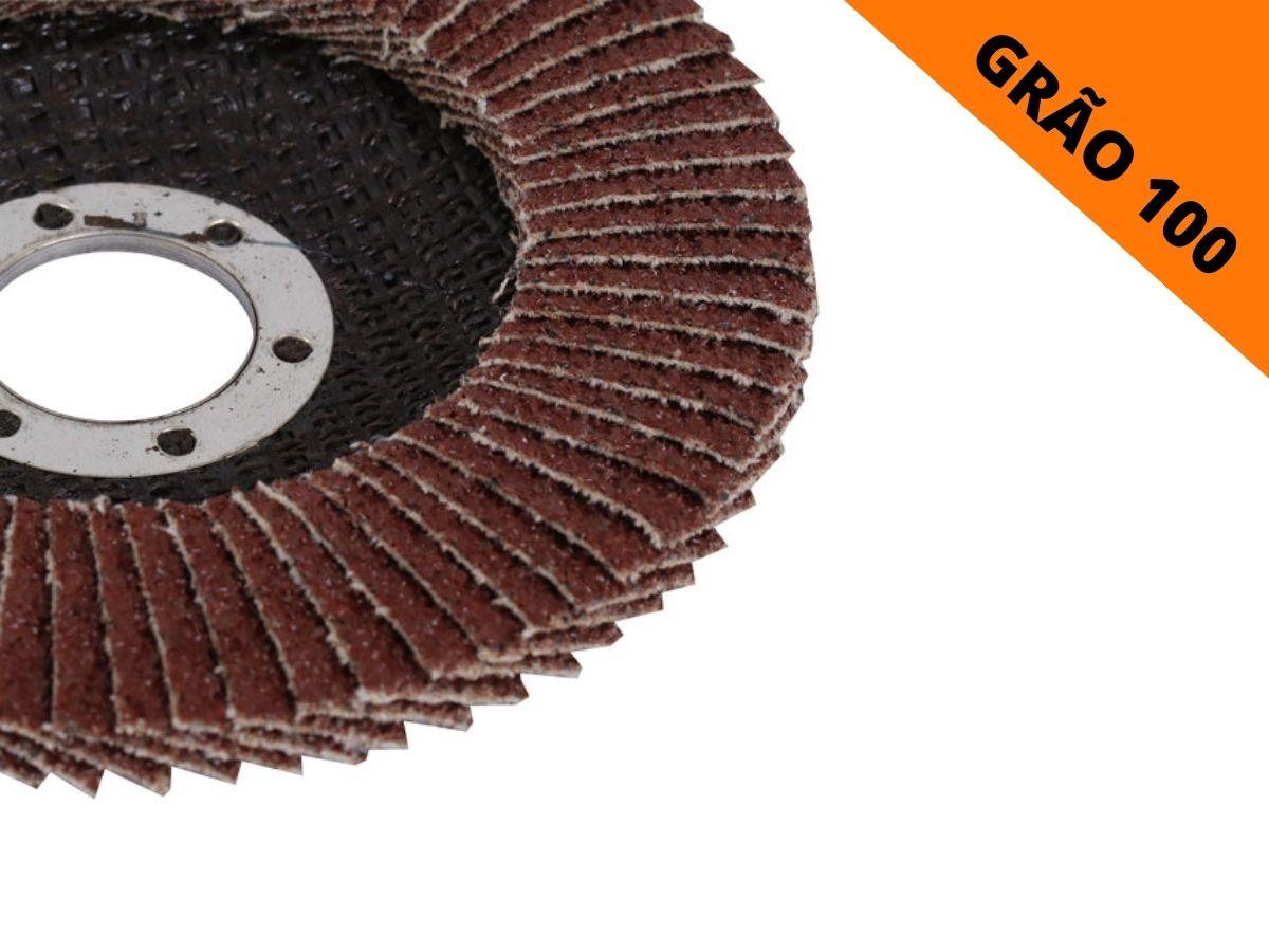Kit 5 Discos Abrasivo De Lixa Flap Mtx 740319 Grão 100 115mmx22mm