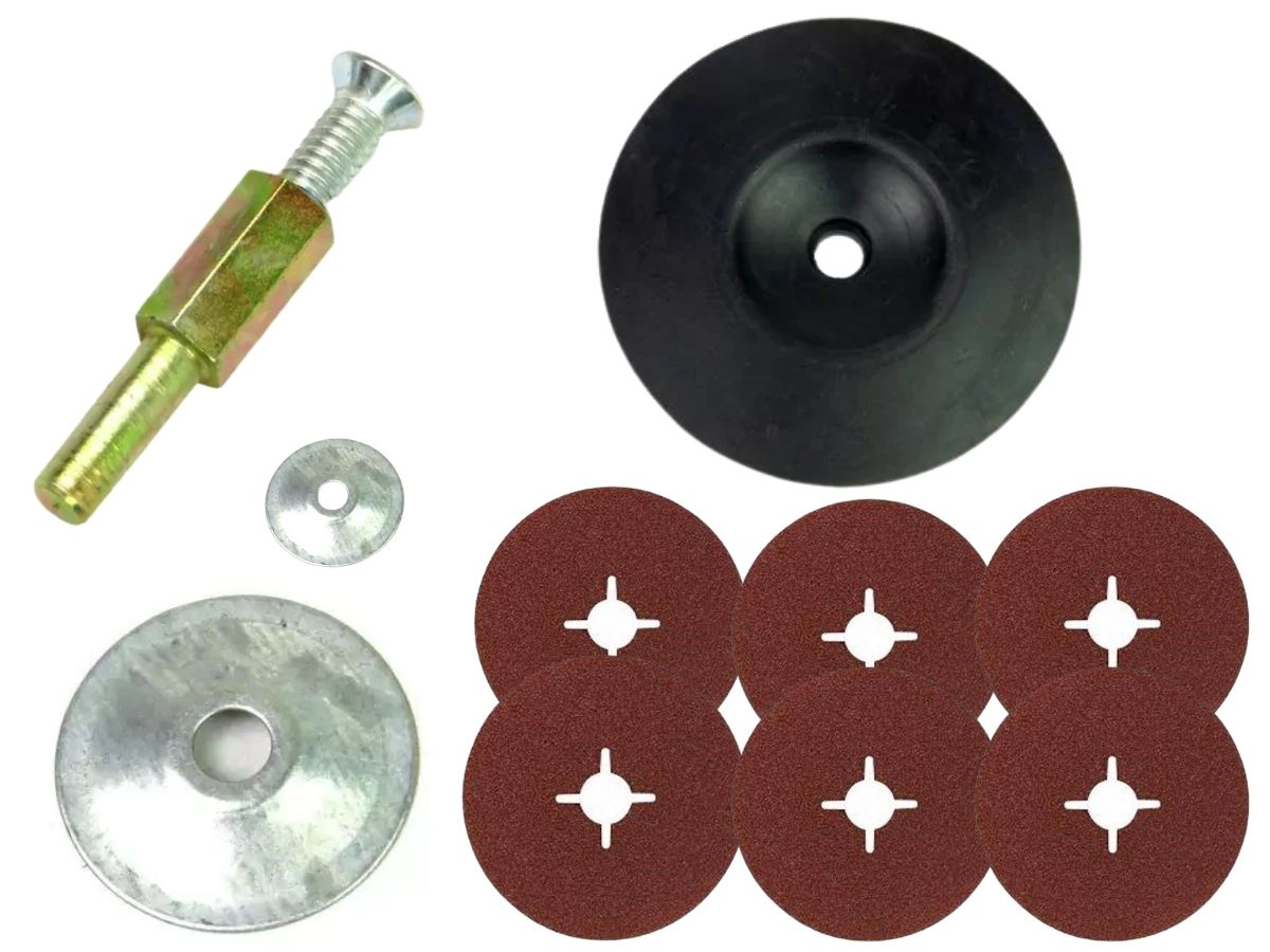 "Kit Adaptador Para Disco 1/4"" Mil Kits + Disco De Borracha 5 Pol. + Jogo De Lixas 15 Peças"