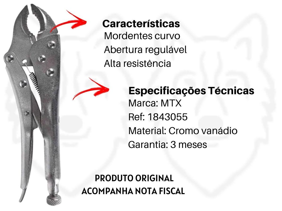Kit Alicate Bomba D'Água + Alicate De Pressão Mordente Curvo + Martelo Unha Magnético + Alicate Rebitador MTX