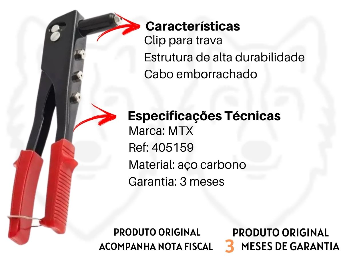 Kit Alicate Rebitador 4 Bicos Mtx + Kit De Rebites Em Alumínio 60 Peças