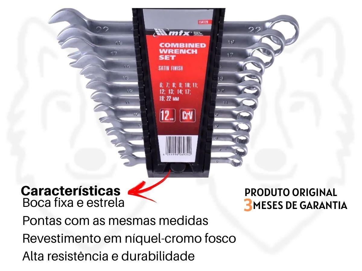 Kit Alicate Universal + Corte Diagonal + Jogo De Chaves 12 Peças MTX