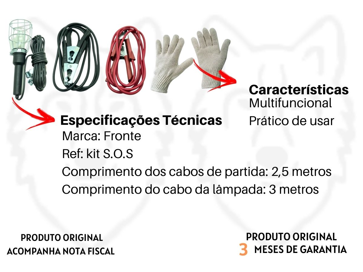 Kit Automotivo Fronte 3 Peças S.O.S Cabo + Lâmpada + Luva