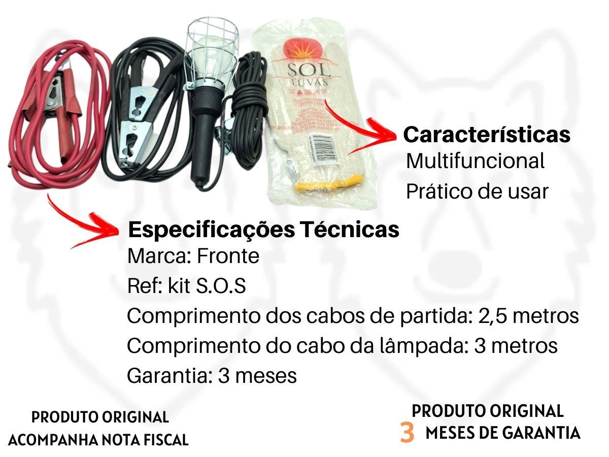 Kit Automotivo S.O.S Cabo Chupeta + Lâmpada + Luva + Triangulo Sinalizador