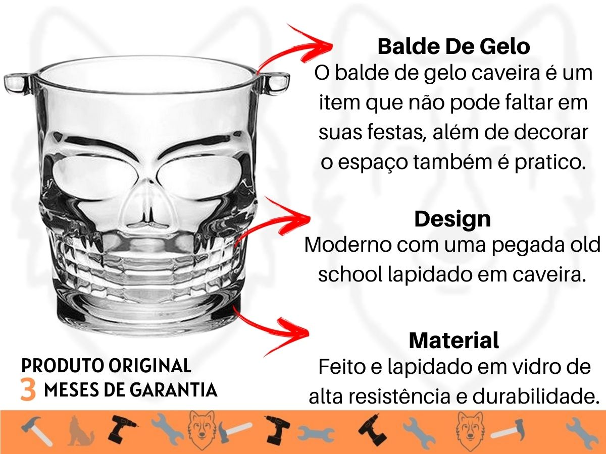 Kit Balde De Gelo Vidro Caveira 800 Ml + Jogo De Copos Baixos Clear 270 Ml 6 Peças