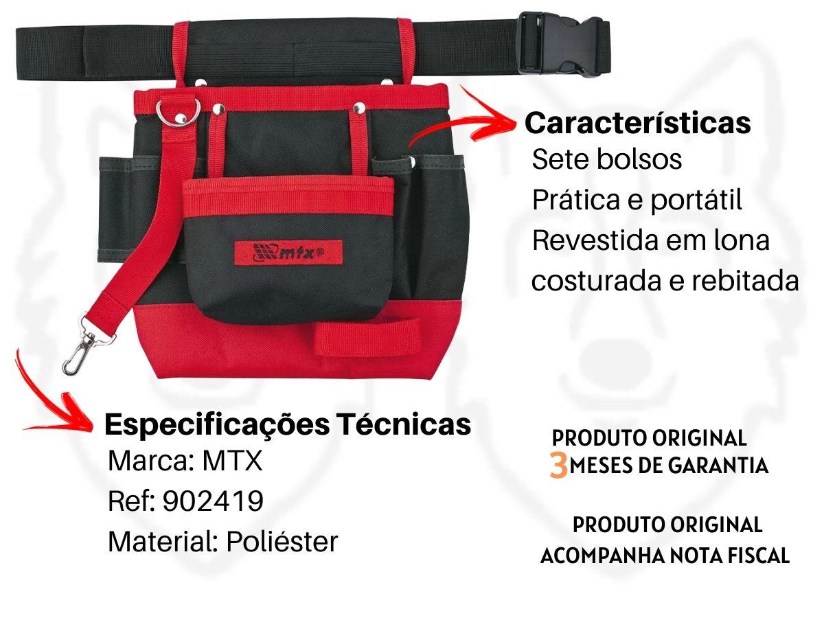 Kit Bolsa De Cinto P/ Parafusadeira Mtx + Bolsa Porta Ferramentas 7 Bolsos C/ Cinto