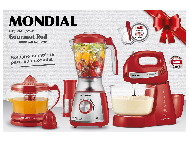 Kit Cozinha Eletrportáteis Mondial KT-74 Liquidificador + Batedeira + Espremedor Elétrico