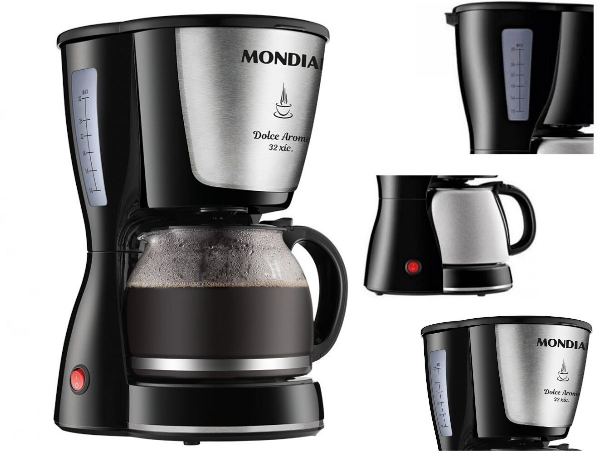 Kit Cozinha Grill E Sanduicheira Mondial S-12 + Cafeteira Elétrica Mondial C-32