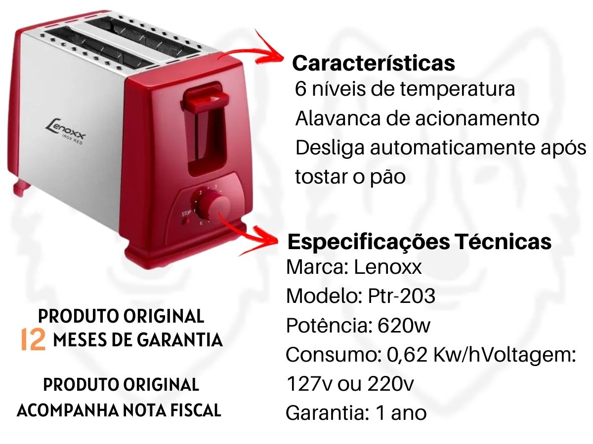 Kit Cozinha Torradeira Lenoxx Ptr-203 Inox Red Duo + Cafeteira Lenoxx Pca-018 18 Xícaras