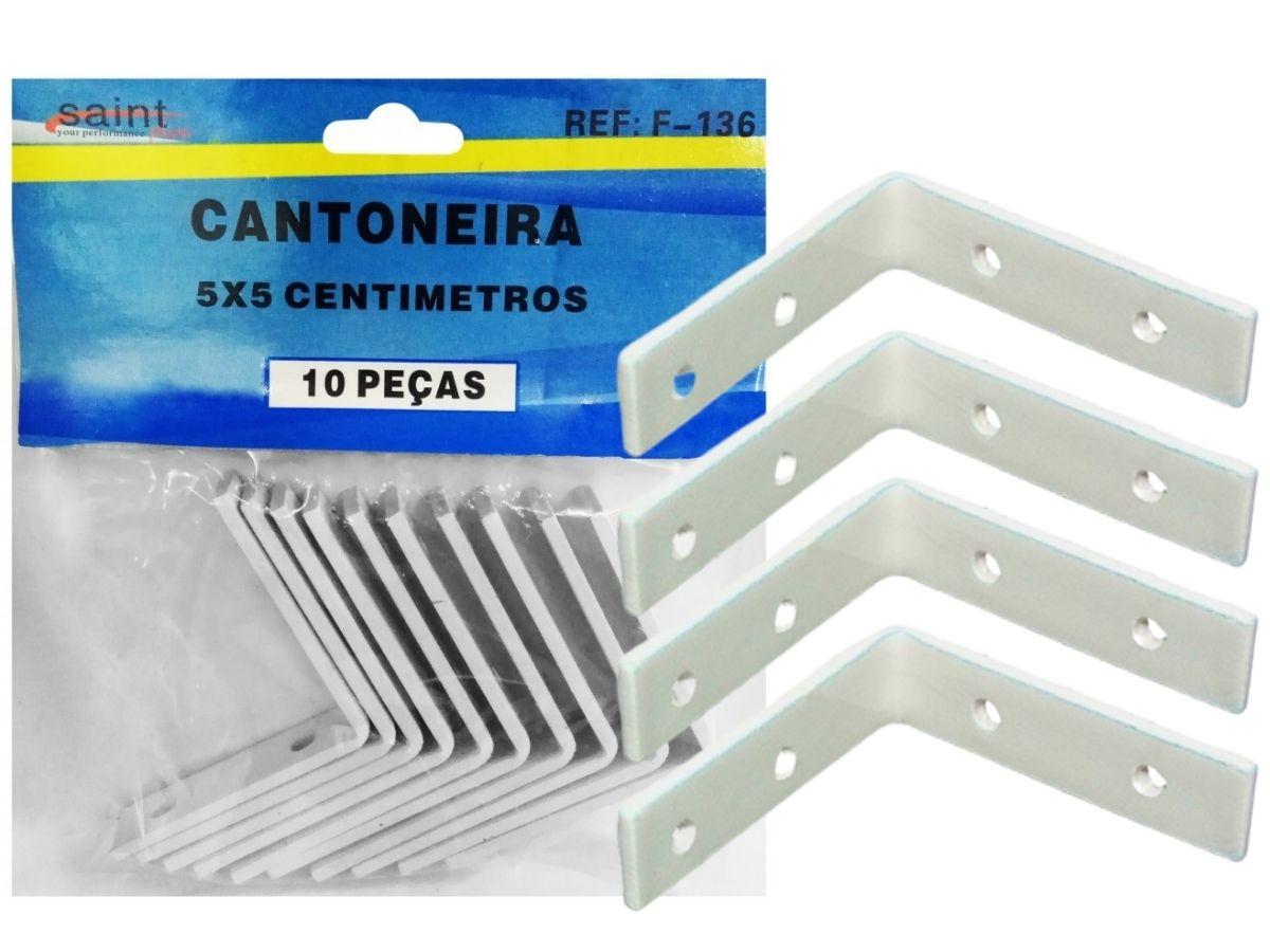 Kit De Cantoneiras 5X5cm Saint F-136 4 Furos Branca 10 Peças