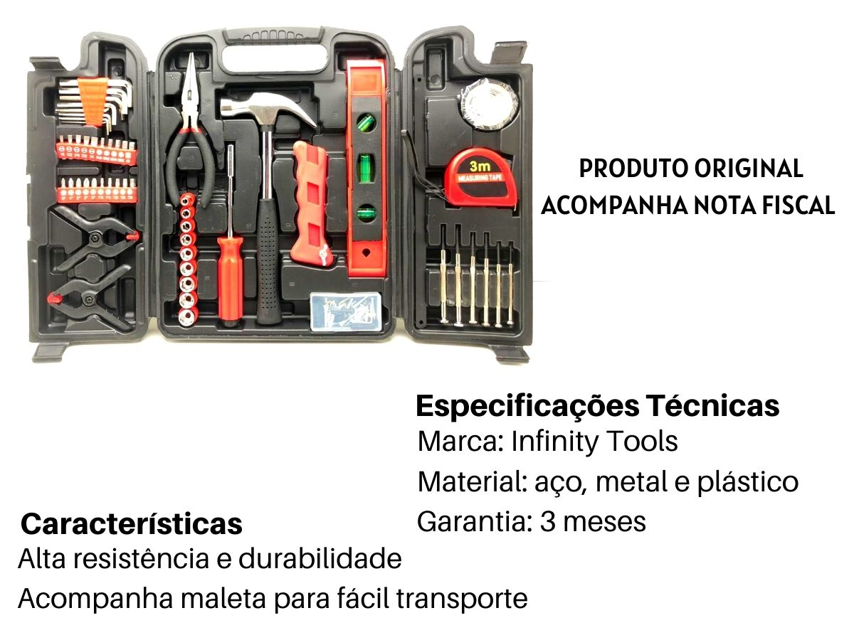 Kit De Ferramentas Infinity Tools 134 Peças Com Maleta