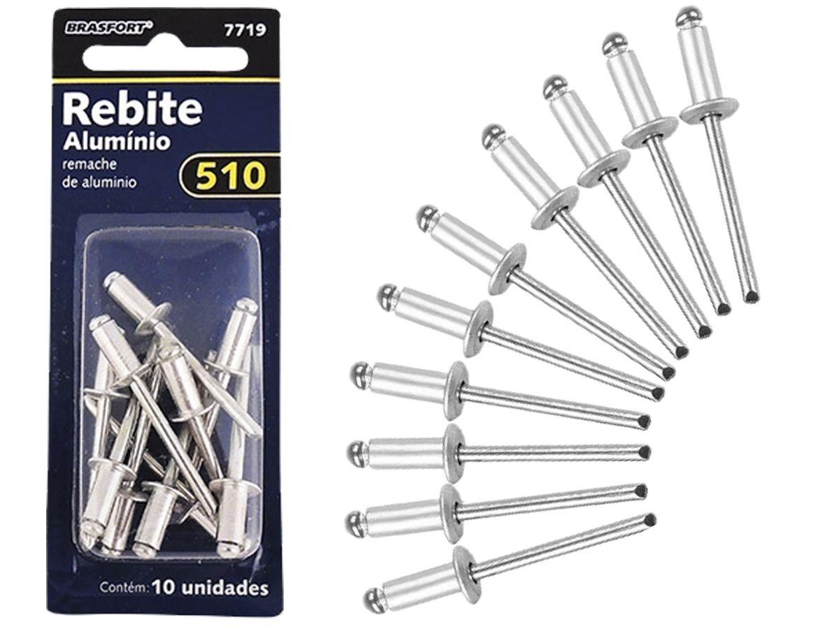 Kit De Rebites Em Alumínio 510 Brasfort 7719 10 Peças