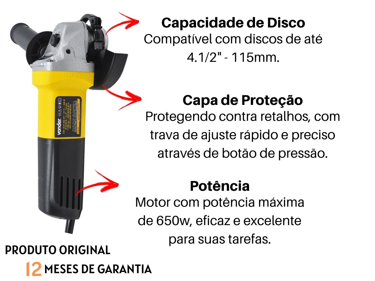Kit Esmerilhadeira Angular 650w 115mm C/ 3 Discos De Corte + Maleta De Ferramentas 134 Peças
