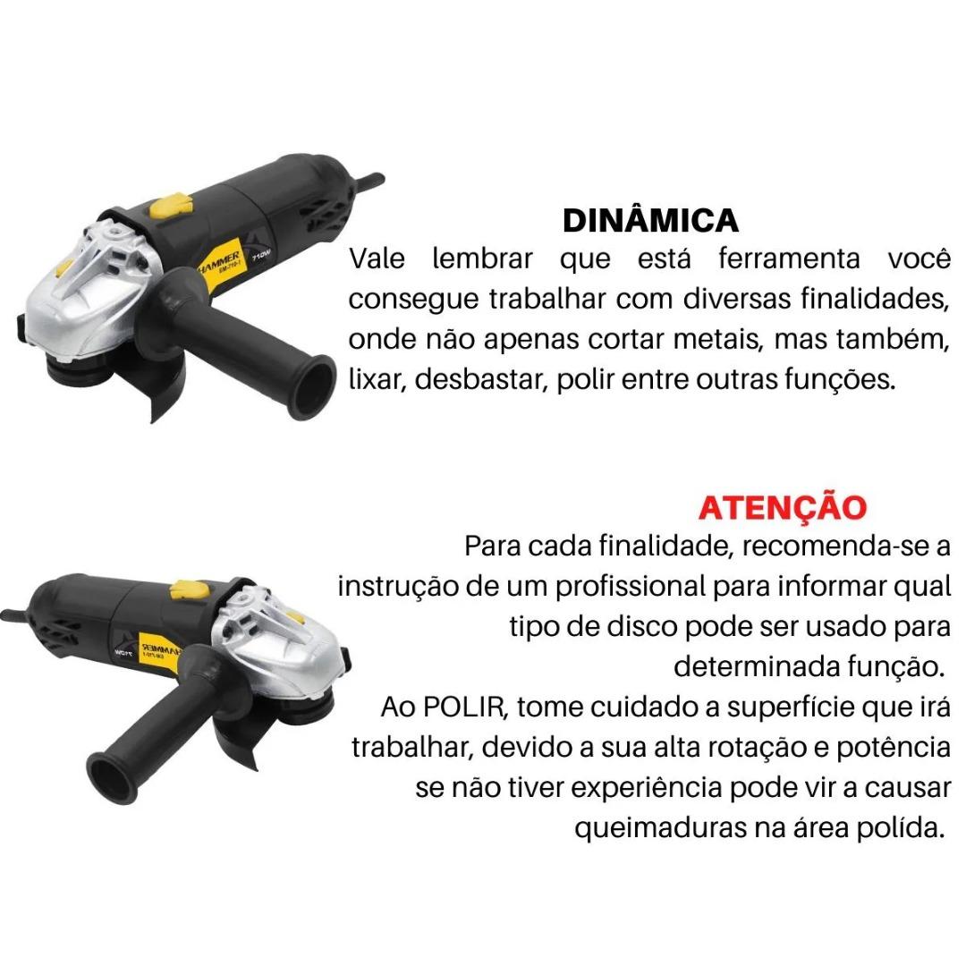 Kit Esmerilhadeira Angular 710w 115mm + Maleta De Ferramentas 134 Peças + 5 Discos De Corte