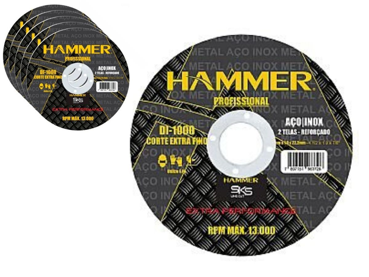 Kit Esmerilhadeira Angular 710w Hammer + 10 Discos De Corte + Maleta De Ferramentas Fercar 02