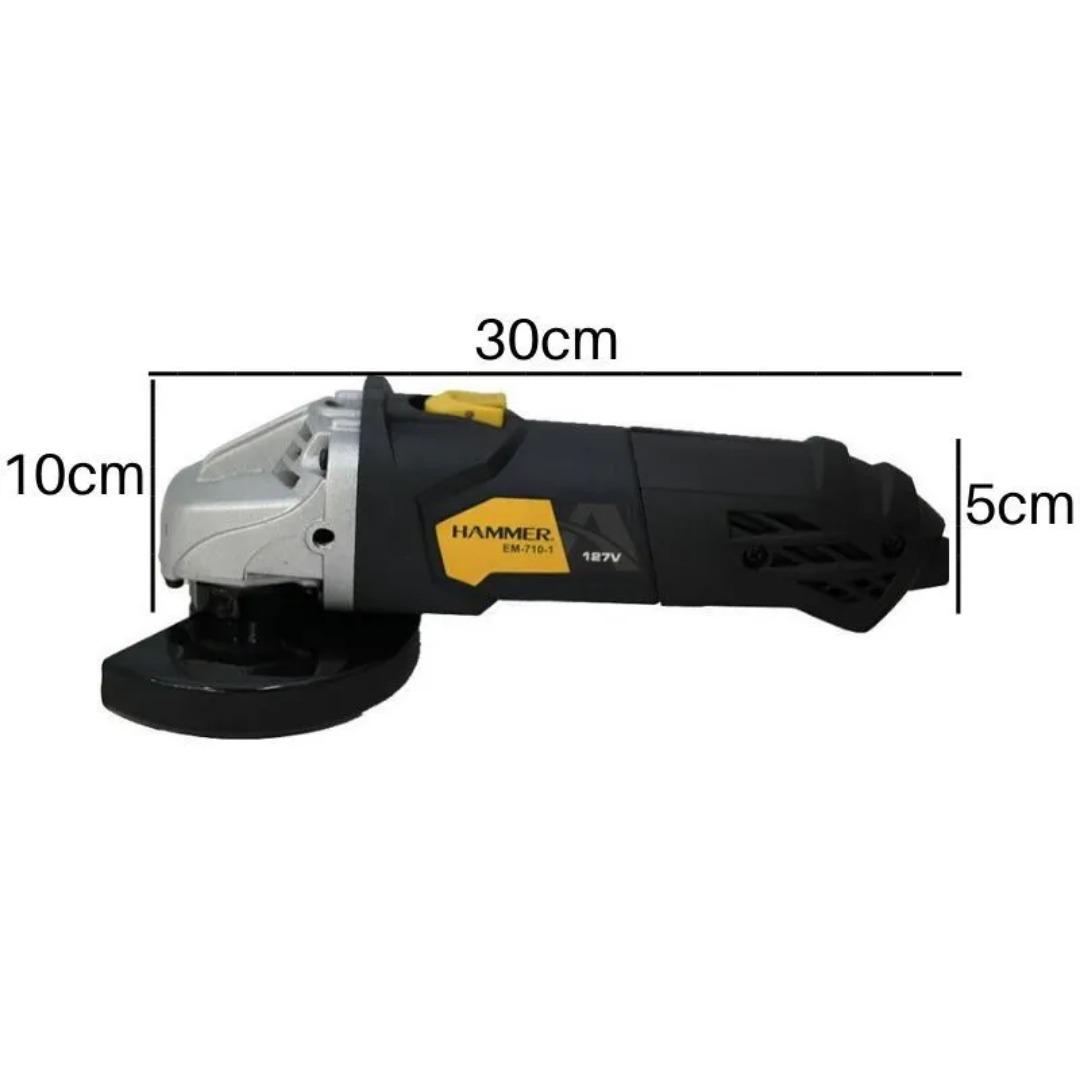 Kit Ferramenta Esmerilhadeira Angular Hammer 710w + 5 Discos De Corte Mtx 7432655
