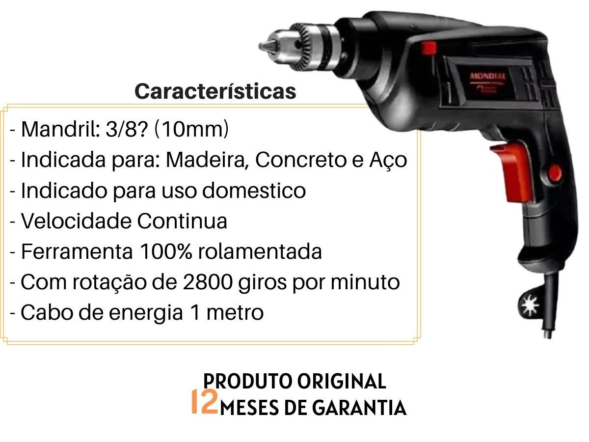 Kit Ferramenta Furadeira De Impacto 550w Mondial + Maleta De Brocas e Bits