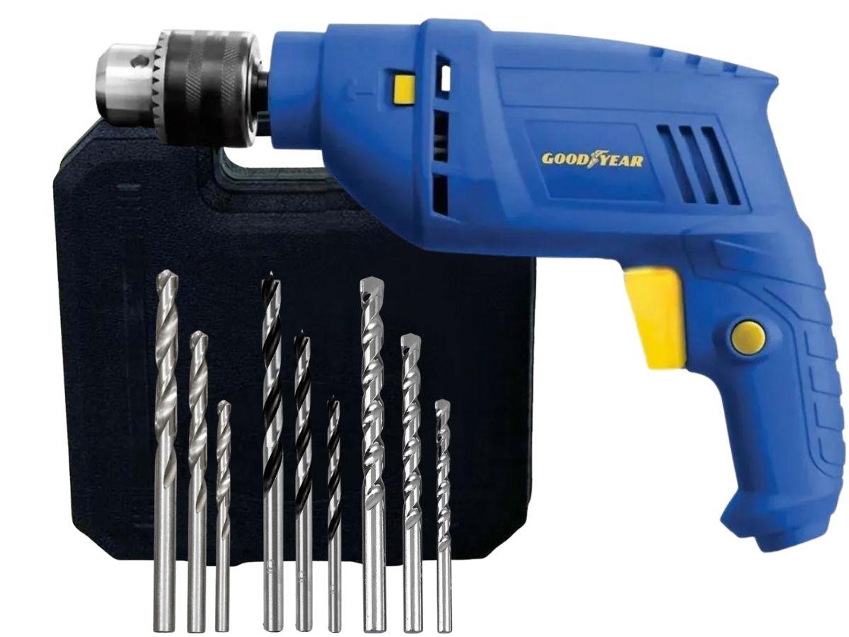 Kit Ferramenta Furadeira De Impacto 600w Goodyear GY-DI-10600K-3 + Jogo De Brocas Mistas Hammer Kbx-9 Voltagem: 127v