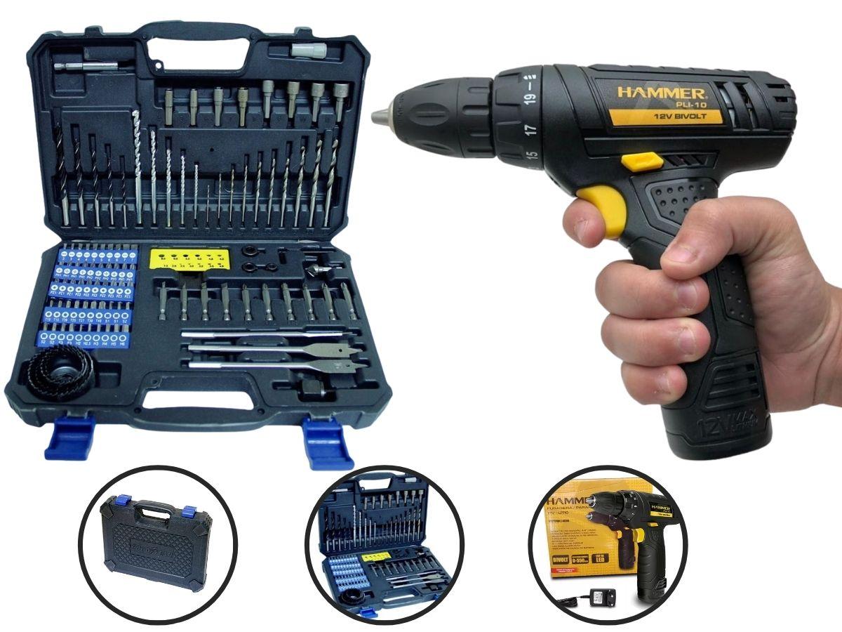 Kit Ferramenta Parafusadeira 12v Hammer Pli-10 + Jogo De Brocas e Bits Goodyear Gy-Dk-5006B 110 Peças