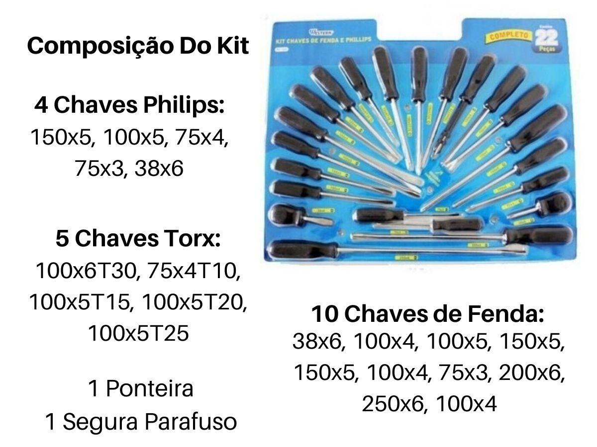 Jogo De Chaves Fenda e Phillips Western 1222 22 Peças