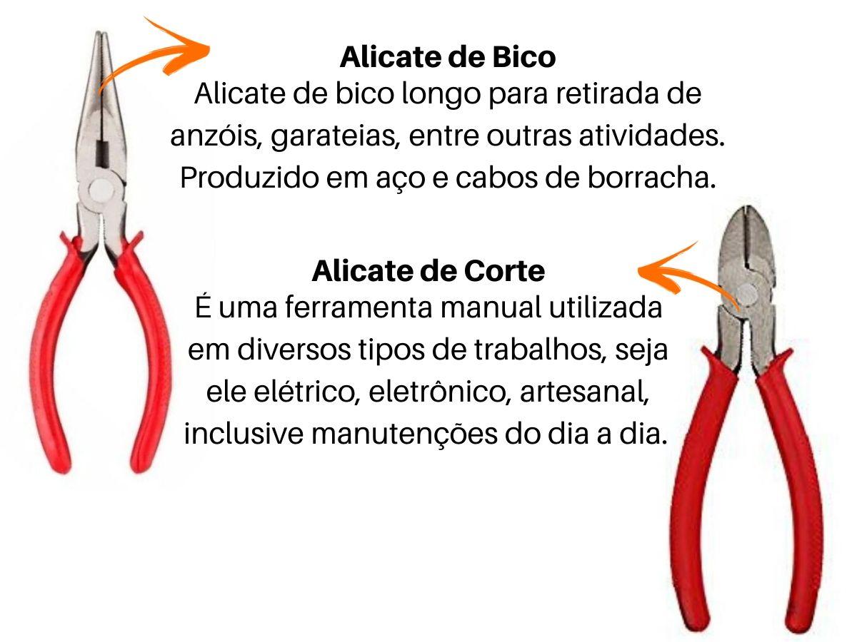 """Kit Alicates Bico  V-18 Corte V-28 Universal V-8 Pressão V-10 Chave Inglesa 12"""" e Chave Grifo GY-WS-7001 Western"""