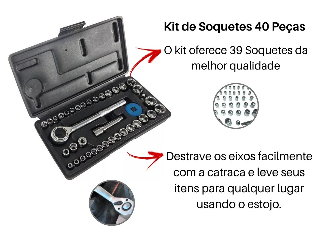 Kit Ferramentas Manuais Soquetes Catraca Fertak e Chave Combinada 1WT EDA 52 Peças
