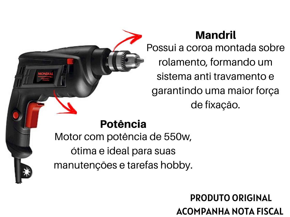 Kit Furadeira De Impacto 550w 10mm + Bolsa Porta Ferramentas + Jogo De Brocas Mistas + Soquetes C/ Catraca