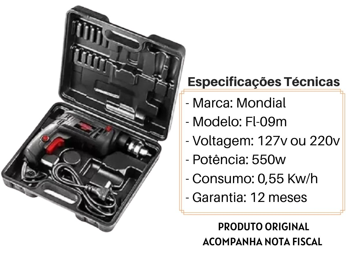 Kit Furadeira De Impacto 550w 10mm C/ Maleta + Jogo De Brocas Mistas + Serra Copo 8 Peças