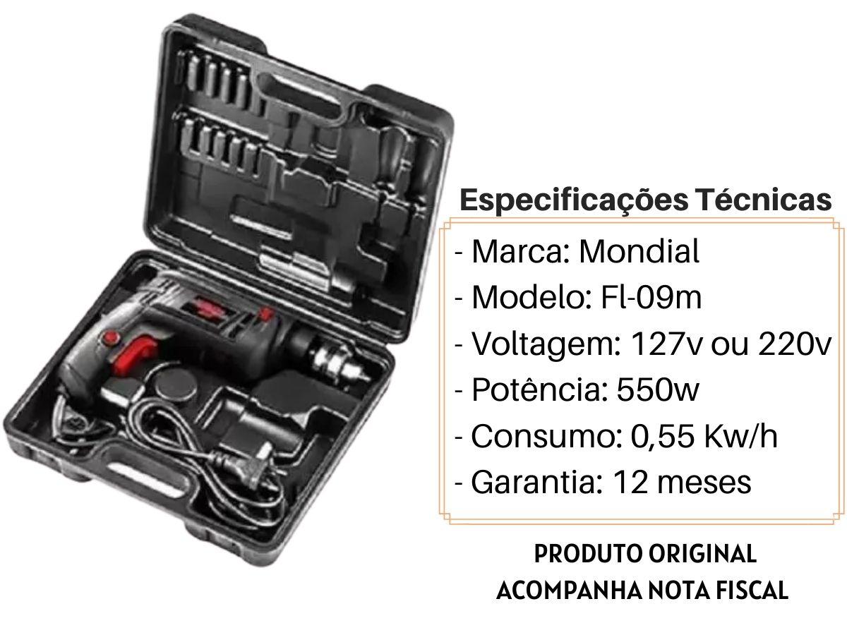 Kit Furadeira De Impacto 550w 10mm C/ Maleta + Jogo De Brocas Mistas + Serra Copos 19 A 127mm