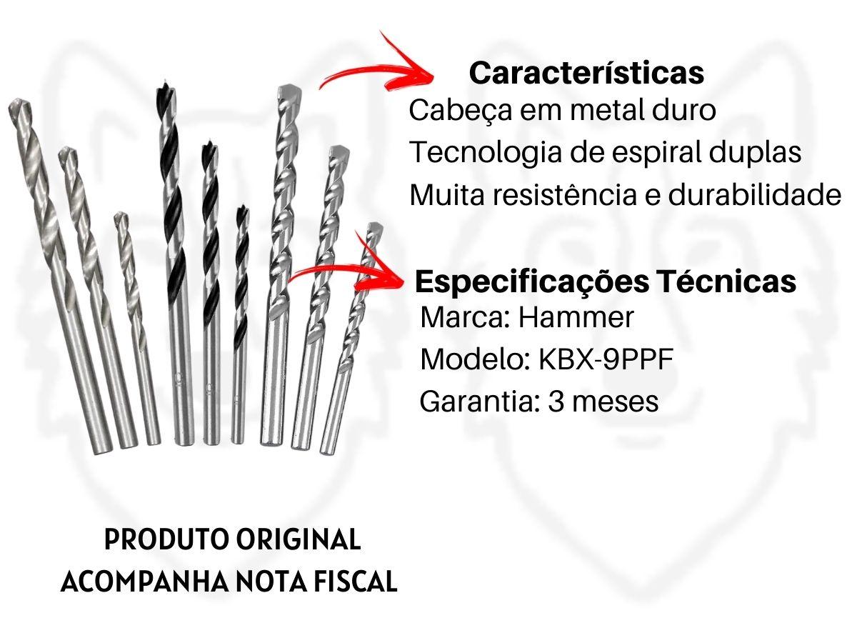 Kit Furadeira De Impacto 550w 10mm C/ Maleta + Jogo De Soquetes C/ Catraca 40 Pçs + Kit Brocas Mistas
