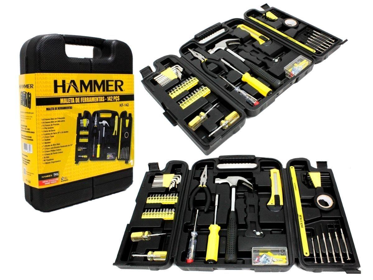 Kit Furadeira De Impacto 550w Hammer Gy-Kt-1142 + Maleta Com Ferramentas 142 Peças