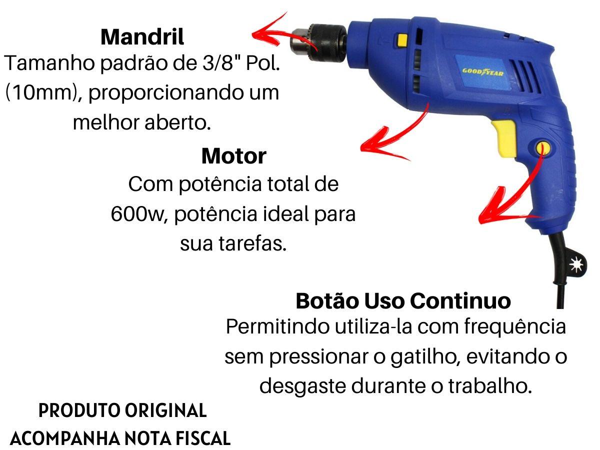 Kit Furadeira De Impacto 600w 10mm + Jogo De Brocas Mistas + Maleta De Ferramentas